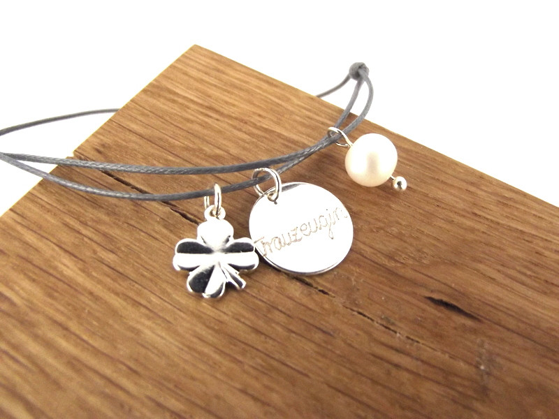 Set Graviertes Perle 2er Armband Glücksklee amp; wOZPTlXkiu